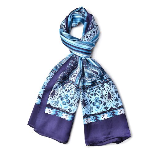 100% Mulberry Silk Navy and light Blue Colour Stripes and Paisley Pattern Scarf (Size 170X52 Cm) Fin