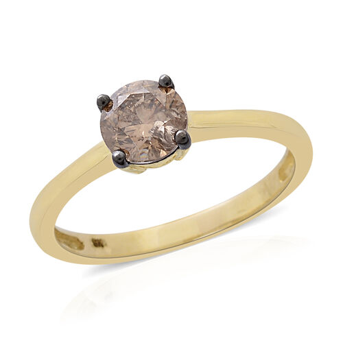 Limited Edition- 9K Yellow Gold SGL Certified Rare Size Natural Champagne Diamond (Rnd) (I3) Solitaire Ring 1.000 Ct.
