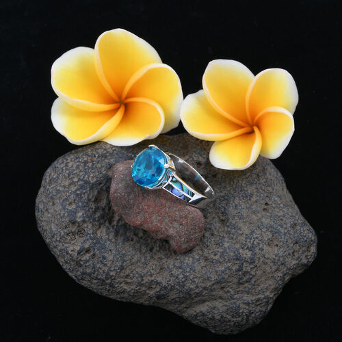 Royal Bali Collection Capri Blue Quartz (Rnd 6.76 Ct), Abalone Shell Ring in Sterling Silver 11.760 Ct.