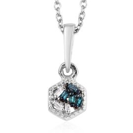 Diamond Platinum Overlay Sterling Silver Pendant With Chain  0.030  Ct.