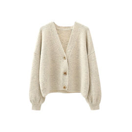 Kris Ana V Neck Wool Cardigan One Size (8-16) - Cream