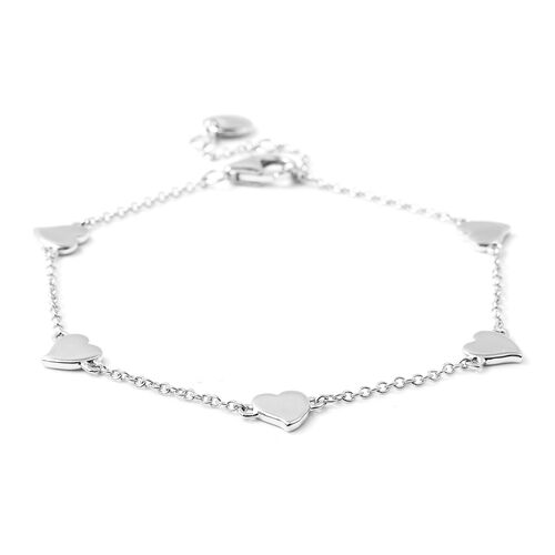 RACHEL GALLEY Heart Collection - Rhodium Overlay Sterling Silver Heart Station Adjustable Bracelet (Size 7.5-8)