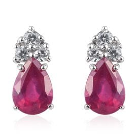 9K White Gold AAA African Ruby (Pear), Natural Cambodian Zircon Earrings (with Push Back) 2.000 Ct.