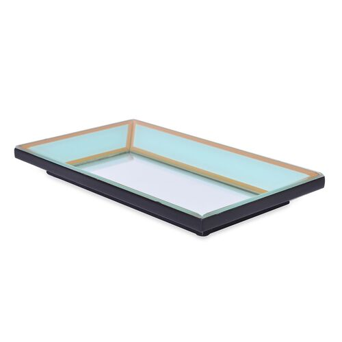 Green Colour Tray with Mirror Surface (Size 28X16X3 Cm)