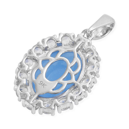 Limited Available-9K W Gold Blue Jade (Ovl 7.00 Ct), Natural Cambodian Zircon Pendant 9.500 Ct.