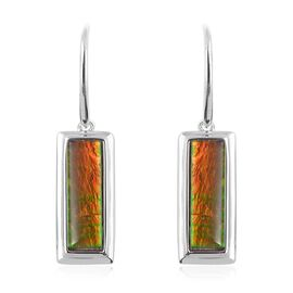 AA Canadian Ammolite (Bgt 16x5 mm) Earrings in Rhodium Overlay Sterling Silver