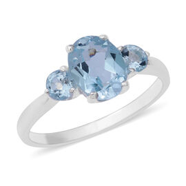 Sky Blue Topaz (Ovl and Rnd) Three Stone Ring in Sterling Silver 2.91 Ct.