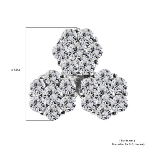 9K White Gold SGL Certified Diamond (I3/G-H) Pressure Set Floral Pendant 0.25 Ct.