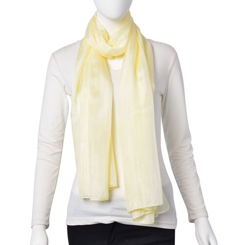 New Season - 100% Mulberry Silk Yellow Colour Scarf (Size 180X100 Cm)
