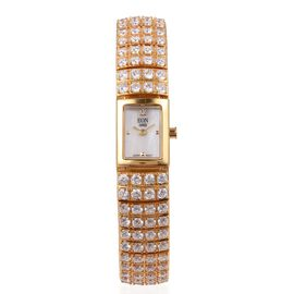 EON 1962 Japanese Miyota Movement Simulated Diamond Studded  3ATM Water Resistant Watch with Sapphire Glass in Yellow Plated Sterling Silver and Stainless Steel, Silver wt. 36.000 Gms