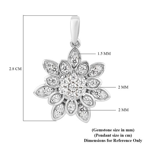 J Francis Platinum Overlay Sterling Silver Floral Pendant Made with SWAROVSKI ZIRCONIA 1.48 Ct.