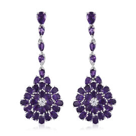 Lusaka Amethyst (Pear), Natural Cambodian Zircon Earrings (with Push Back) in Platinum Overlay Sterl