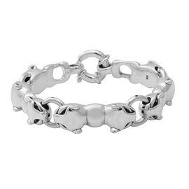 Cat Bracelet with Senorita Clasp in Sterling Silver 21.83 Grams 7.75 Inch