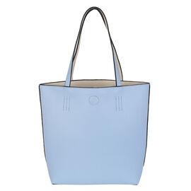2 Piece Set - Kris Ana Reversible Tote Bag & Wash Bag - Powder Blue and Beige