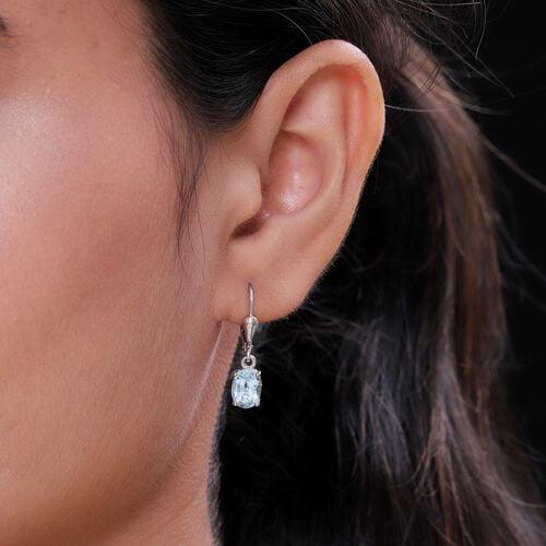 AA Sky BlueTopaz (Ovl) Lever Back Earrings in Platinum Overlay Sterling Silver 2.93 Ct.