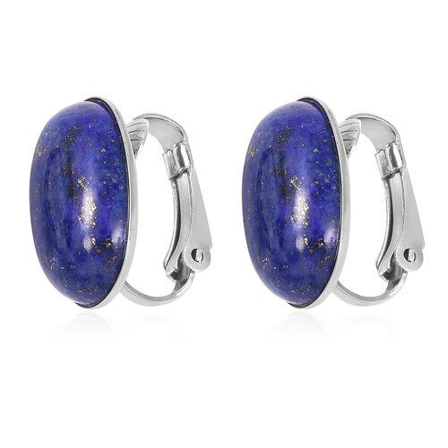 Lapis Lazuli (Ovl) Clip On Earrings in Stainless Steel
