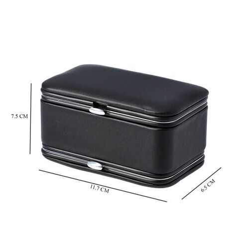 2 in 1 - Six Piece Manicure Set and Travel Jewellery Organiser with Inside Mirror (Size 11.7x7.5x6.5cm) - Black