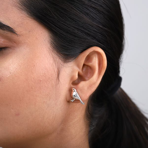 The National Bird - Rose Gold and Platinum Overlay Sterling Silver Robin Stud Earrings (with Push Back)