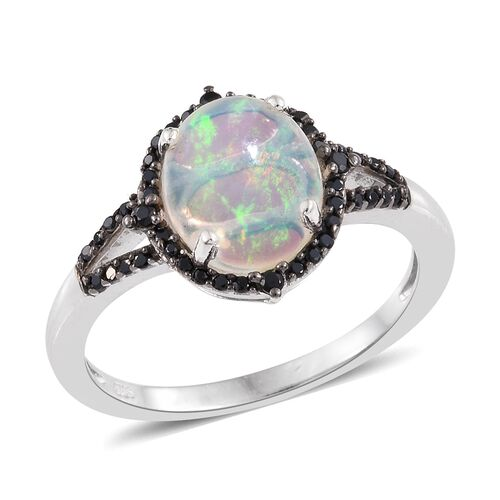Ethiopian Welo Opal (Ovl 2.05 Ct), Boi Ploi Black Spinel Ring in Platinum Overlay Sterling Silver 2.