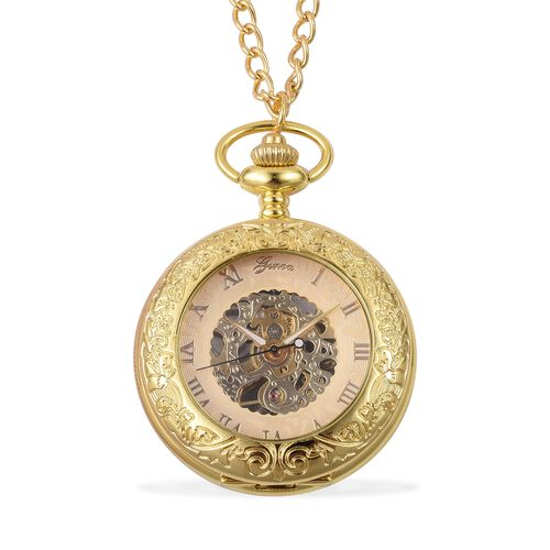 GENOA Automatic Skeleton Golden Dial Water Resistant Ornate Pattern Pocket Watch with Chain in GoldTone