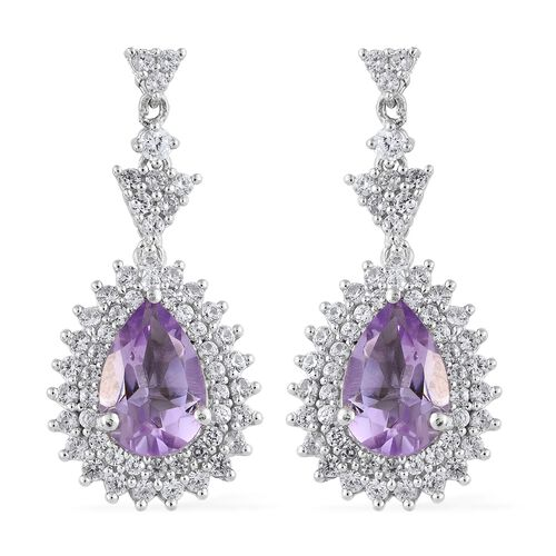 Rose De France Amethyst (Pear), Natural Cambodian Zircon Earrings (with Push Back) in Platinum Overl