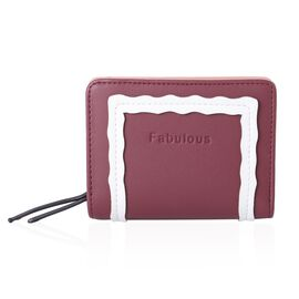 Burgundy and White Colour Ladies Wallet (Size 11.3x9.5x3 Cm)