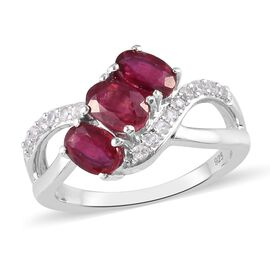 African Ruby and Natural Cambodian Zircon Ring in Platinum Overlay Sterling Silver 2.05 Ct.