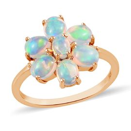 Ethiopian Opal Floral Ring in 14K Gold Overlay Sterling Silver 0.30 ct  0.900  Ct.