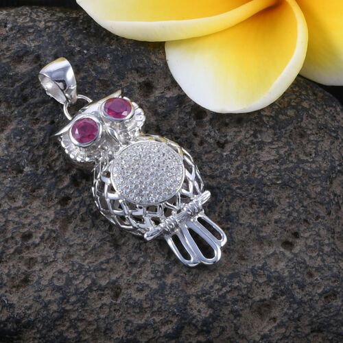 Bali Legacy Collection African Ruby (Rnd), Natural White Cambodian Zircon Owl Pendant in Sterling Silver 1.290 Ct, Silver wt 5.19 Gms