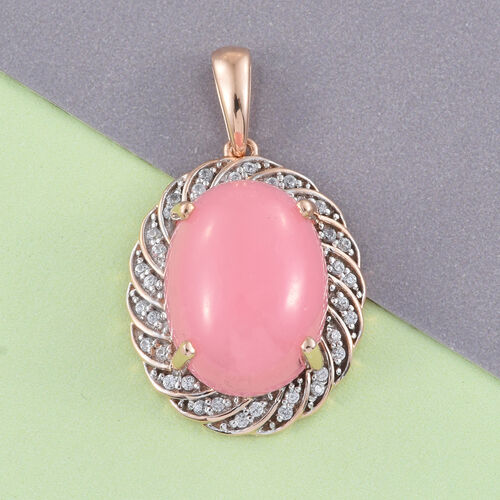 Limited Available-9K R Gold Pink Jade (Ovl 9.75 Ct), Natural Cambodian Zircon Pendant 10.000 Ct.