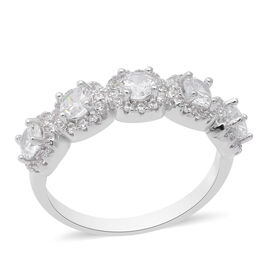 ELANZA Simulated Diamond Ring in Rhodium Overlay Sterling Silver 5.54 Ct.