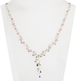 JARDIN COLLECTION- Pink Mother of Pearl, Amethyst and Natural White Cambodian Zircon Floral Enameled Necklace (Size 17 with 3 inch Extender) in Rhodium Overlay Sterling Silver, Silver wt 21.69 Gms
