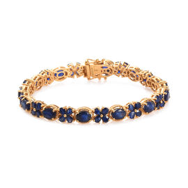 GP Masoala Sapphire (Ovl and Pear), Blue Sapphire Floral Bracelet (Size 7.5) in 14K Gold Overlay Ste