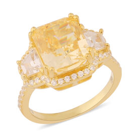 ELANZA Simulated Yellow Diamond and Simulated White Diamond Ring in Yellow Gold Overlay Sterling Sil