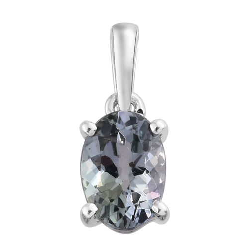 9K White Gold 0.75 Carat AA Natural Green Tanzanite Solitaire Pendant