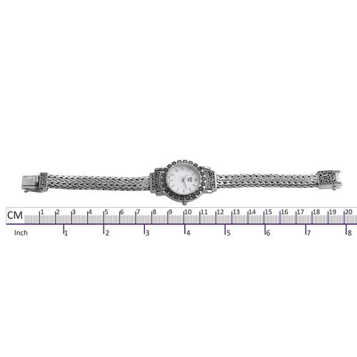 Royal Bali Collection EON 1962 Diamond Studded Swiss Movement Water Resistant Tulang Naga Bracelet Watch (Size 6.75) in Sterling Silver, Silver wt 54.00 Gms