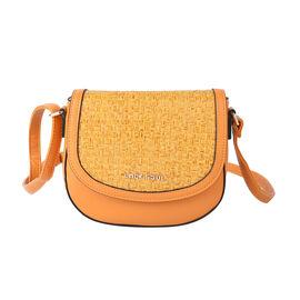 LOCK SOUL Weave Pattern Crossbody Bag with Shoulder Strap (Size 20x16x7Cm) - Orange