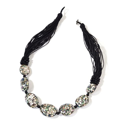 Abalone Shell and Black Agate Necklace (Size 24) Black Tone 415.000 Ct.