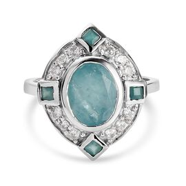 Grandidierite and Natural Cambodian Zircon Ring in Platinum Overlay Sterling Silver 2.49 Ct.