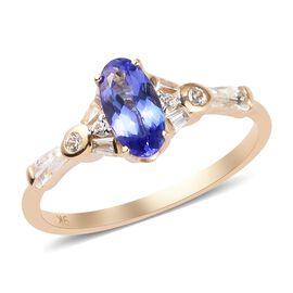 9K Yellow Gold AA Tanzanite and Natural Cambodian Zircon Ring 1.17 Ct.
