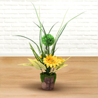 Decorative Artificial Hydrangea with Ceramic Floral Pot (Size:11.5x11.5x43Cm) - Yellow, Green and Wh