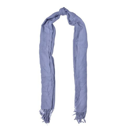 100% Wool Grey Colour Scarf with Fringes (Size 180x70 Cm)