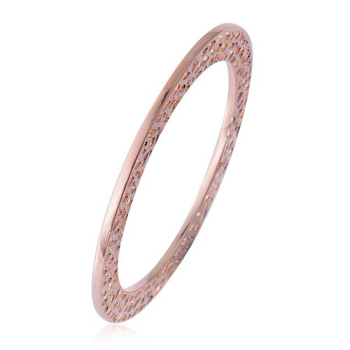 RACHEL GALLEY Rose Gold Overlay Sterling Silver Enkai Sun Bangle (Size 8), Silver wt 35.47 Gms.