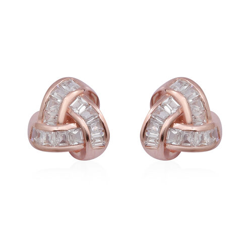 ELANZA Simulated Diamond Knot Earrings in Rose Gold Overlay Sterling Silver