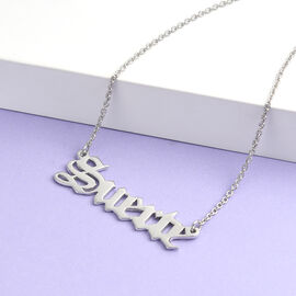 Personalised Name Necklace in Brass with Steel Chain, Font- Old English Text MT