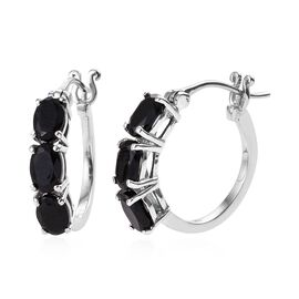 Black Tourmaline (Ovl) Three Stone Hoop Earrings (with Clasp) in Platinum Overlay Sterling Silver 3.000 Ct