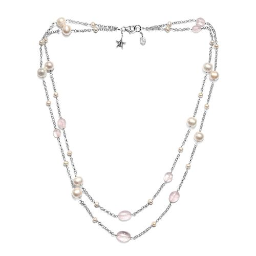 GP - Freshwater Pearl, Morganite and Blue Sapphire Double Strand Necklace (Size 20) in Rhodium Overl