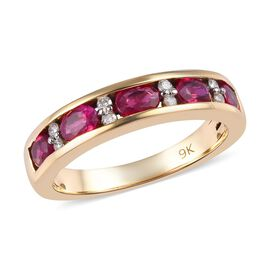 9K Yellow Gold AA Burmese Ruby and Diamond (I3/G-H) Half Eternity Band Ring 1.10 Ct.
