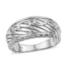 Sundays Child- Rhodium Overlay Sterling Silver Open Band Ring, Silver wt. 5.05 Gms