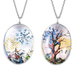 Set of 2  Diorama Pendant With Chain with Tree and Butterfly Theme in Silver Tone Size 24